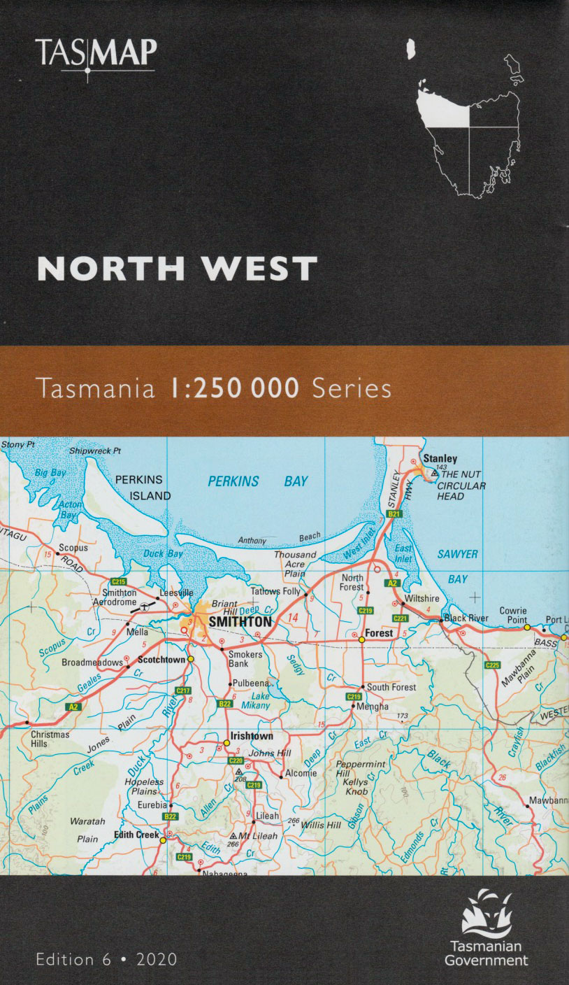 Tasmap Tasmania North West 1:250 000 map