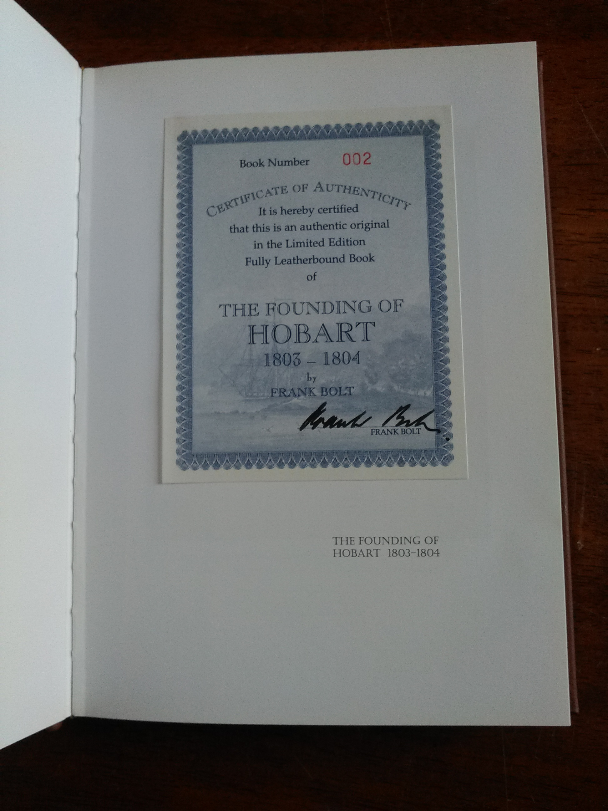 The Founding of Hobart - limited edition
